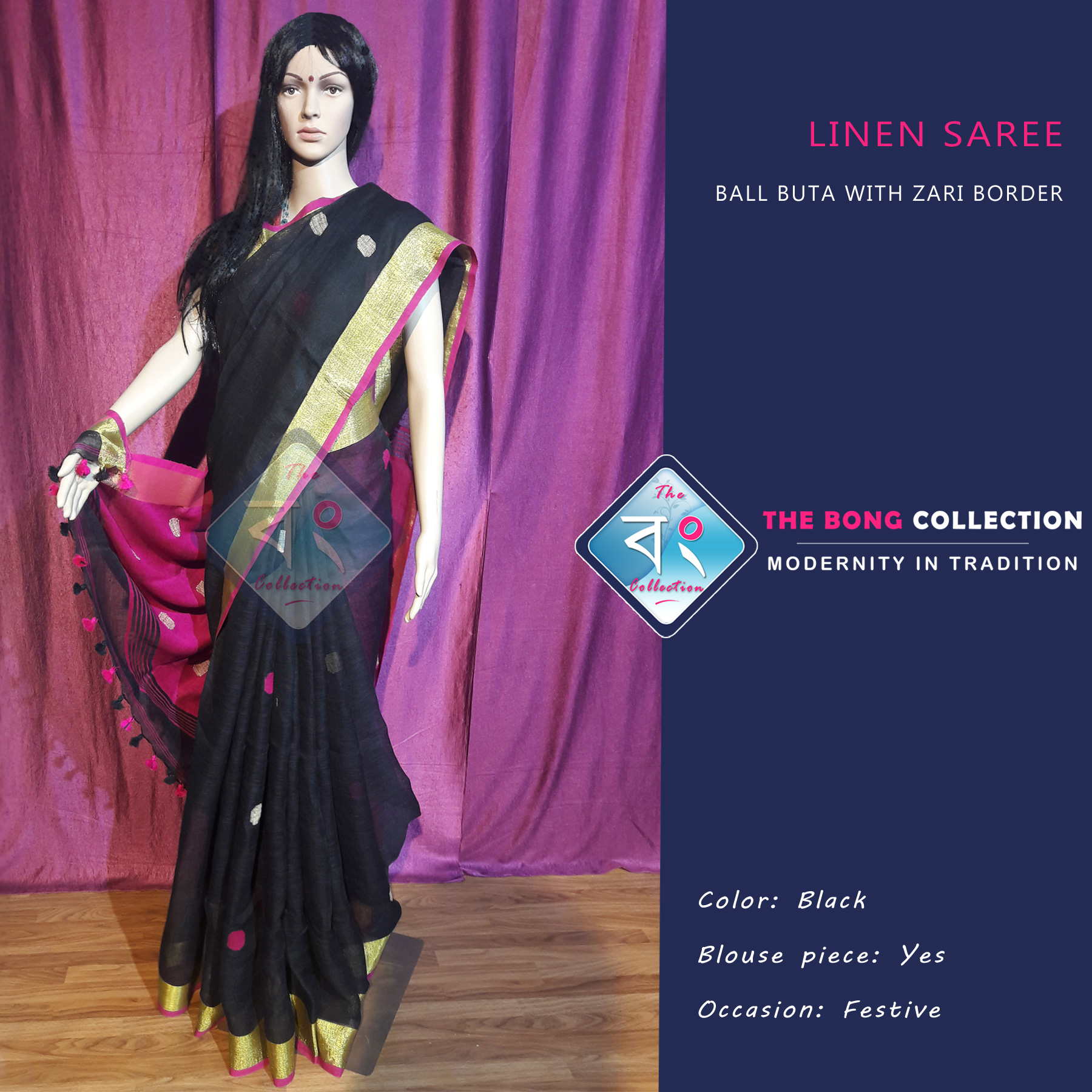 9d5d2c0cf Linen Saree with Ball Buta and Zari Border -Pink and Black - The Bong  Collection